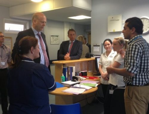 Chris meets staff at Epsom Hospital A&E Department