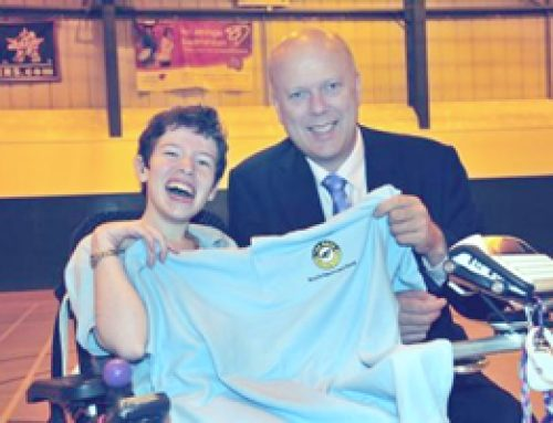 Chris Grayling visits Beth Moulam at Boccia Club in Ewell – June 2012