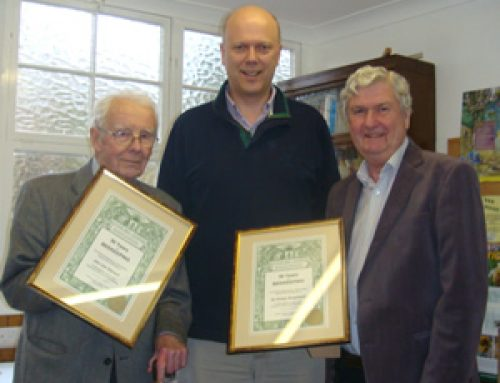 Presenting long service awards to members of the Epsom Beekeepers – March 2011