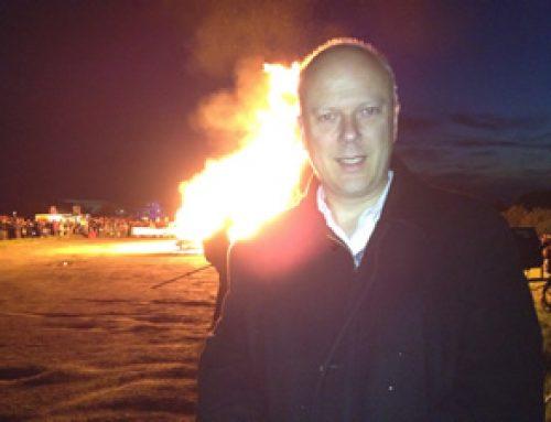 Chris lighting the Jubilee Beacon on Epsom Downs – June 2012